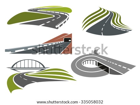 Winding roads among green fields, freeway with railroad bridge, highway interchange with ramp and mountainside road with tunnel, for transportation theme design - stock vector