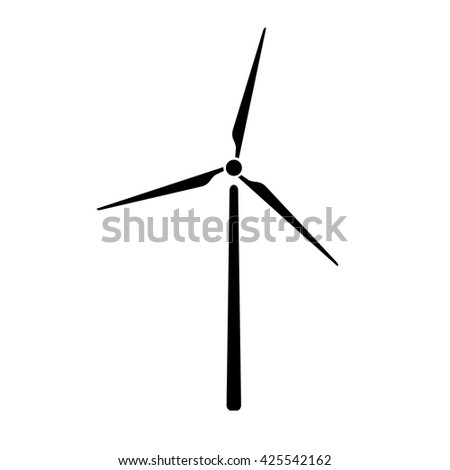 Windmill, alternative and renewable energy supply source. Icon of windmill and wind energy. Vector Illustration - stock vector