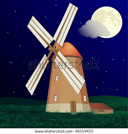 Windmill at night vector - stock vector
