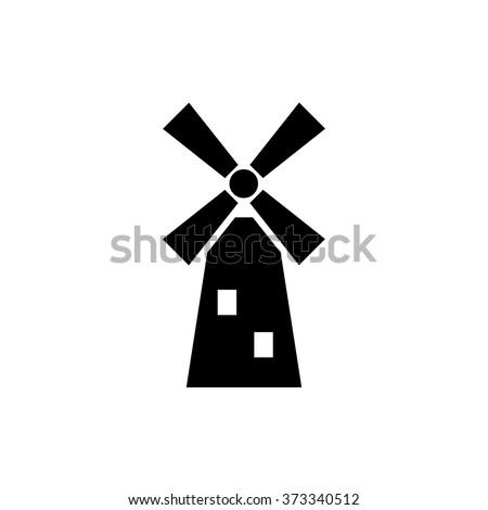 Windmill black line icon,Vector illustration.EPS 10, mill icon - stock vector