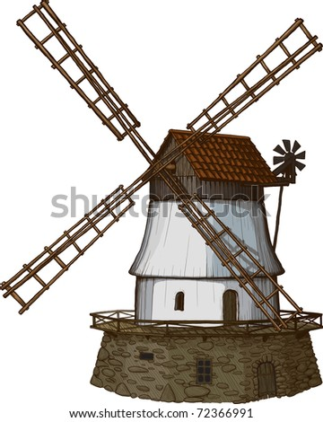 windmill drawn in a woodcut like method - stock vector