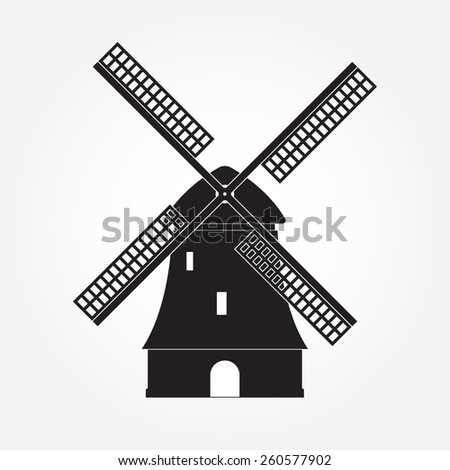 Windmill icon or sign isolated on white background. Mill symbol. Vector illustration. - stock vector