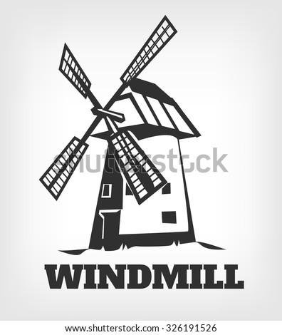 Windmill Logo. Vector black icon illustration - stock vector