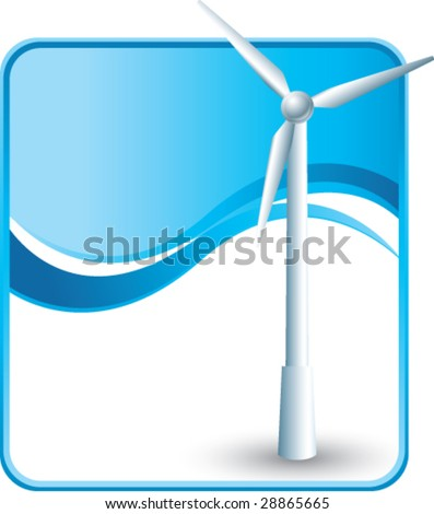 windmill on blue wave background - stock vector