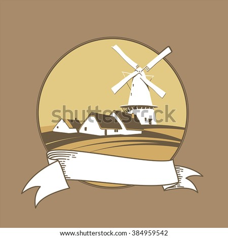 Windmill on the background of natural landscape label - stock vector