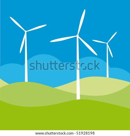 windmill on the field vector illustration - stock vector