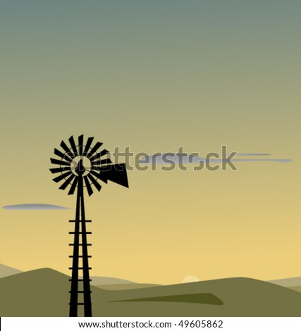 Windmill silhouette with sun rising or setting behind it. - stock vector