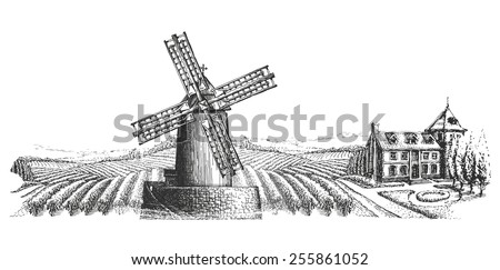windmill vector logo design template. harvest or village icon. - stock vector