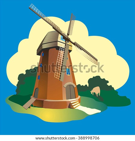 Windmill. Vector with the gradient. - stock vector