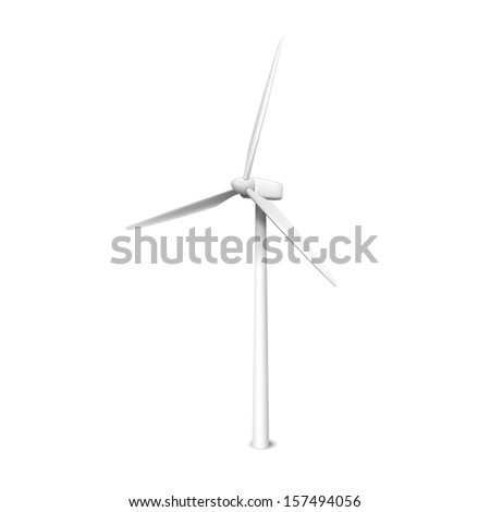 Windmill, wind generator realistic vector illustration isolated