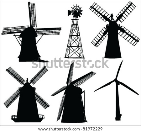 windmills and wind turbine vector - stock vector
