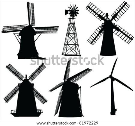windmills and wind turbine vector - stock vector