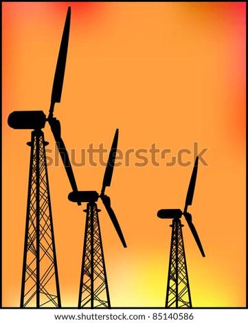 Windmills power at sunset - stock vector
