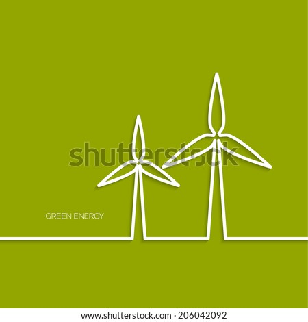 Windmills receiving wind energy. Vector illustration concepts for ecology,  and green technology. flat design