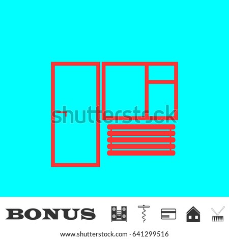 Window and door icon flat. Red pictogram on blue background. Vector illustration symbol and bonus buttons Music center, corkscrew, credit card, house, drum