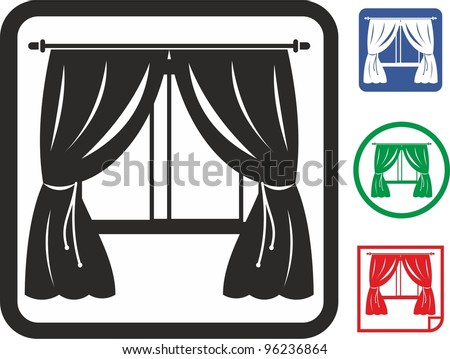 Window curtains vector icon - stock vector