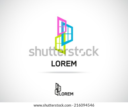 Window Emblem. Logo Symbol Element. Vector Icon - stock vector