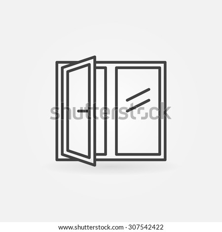 Window linear icon - vector symbol or logo - stock vector