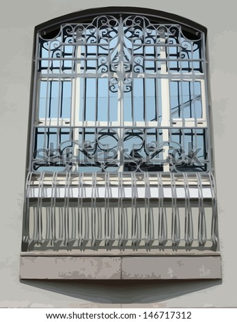 window of building with grid illustration