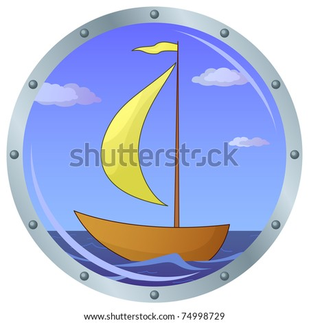 Window porthole with the ship floating on the sea and the blue sky with clouds - stock vector