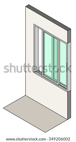 Window type / construction: Single horizontal sliding window shown installed in a wall. - stock vector