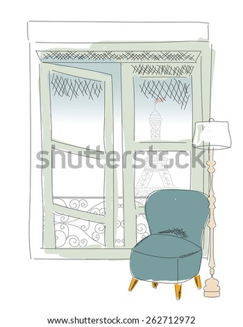 Window view from Paris window, Eiffel tower, hand drawn, vector illustration - stock vector