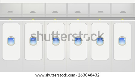 Window View Interior of Jet Plane with panels of baggage compartments and windows overlooking blue sky. Wallpaper concept for travel and tourism industry. Editable EPS vector illustration and jpg.   - stock vector