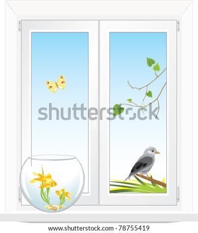 Window with a kind in a garden. Vector - stock vector