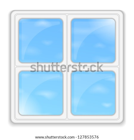 Window with blue sky, vector eps10 illustration - stock vector