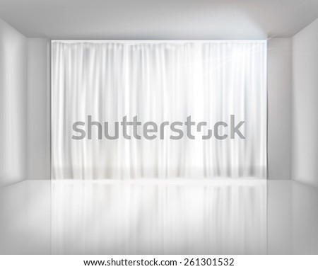Window with net curtains. Vector illustration. - stock vector