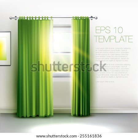 Window with sun rays shining trough, with transparent green curtains. Editable vector template - stock vector
