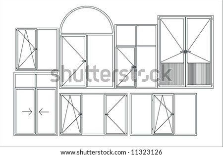 windows - stock vector