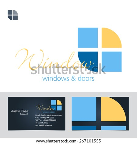 Windows Doors Business Sign Business Card Stock Vector - Windows business card template