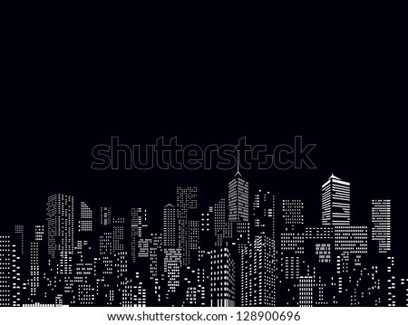 windows on city skylines in black and white - stock vector
