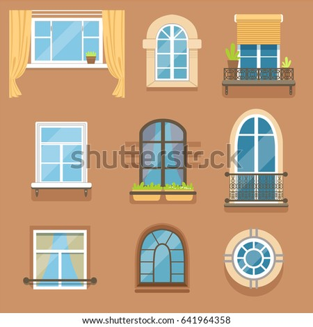 Windows Set Different Styles Forms Window Stock Vector