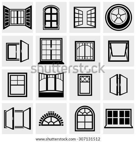 Windows vector icons set on gray - stock vector
