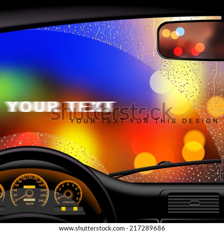 Windshield covered with drops on the background lights of the night city from inside the car. Vector illustration - stock vector