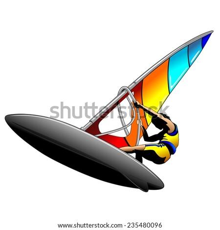 Windsurfer - stock vector