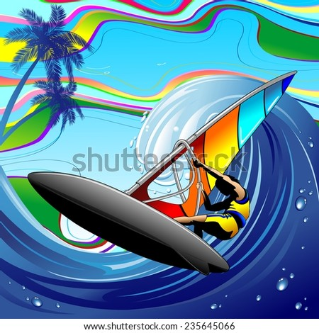 Windsurfer on Ocean Waves - stock vector