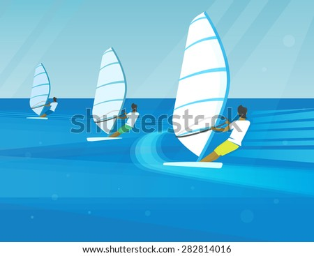 Windsurfing competition of three young guys in the bright seaside