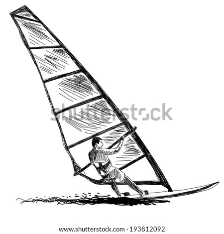 Windsurfing sketch. Vector EPS 10 illustration without transparency and meshes. - stock vector