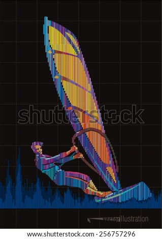 Windsurfing. Vector artwork in the style of digital equalizer - stock vector