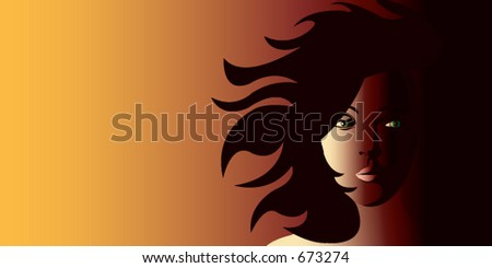 Windswept girl on a fiery background
