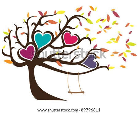 Windy Fall Tree with Swing Holding Four Hearts