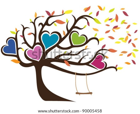 Windy Tree with Fall Leaves Framing Five Hearts and Swing