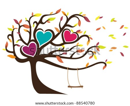 Windy Tree with Fall Leaves Framing Three Hearts and Swing