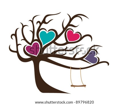 Windy Tree with No Leaves Framing Four Hearts and Swing
