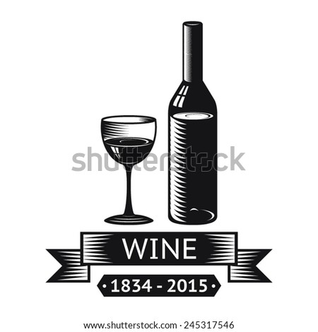 Wine Alcohol Drink Logo Symbol Bottle Glass ribbons Icon Isolated Vector Illustration - stock vector