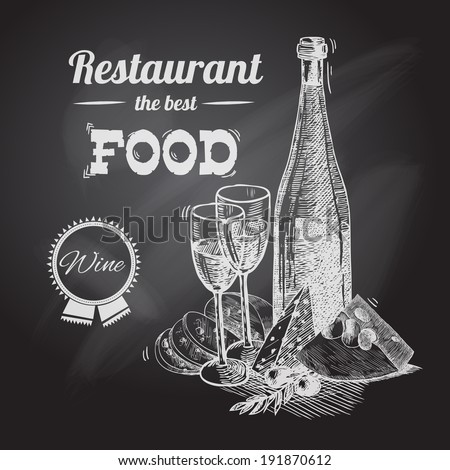 Wine and cheese vintage sketch decorative hand drawn restaurant poster vector illustration. - stock vector