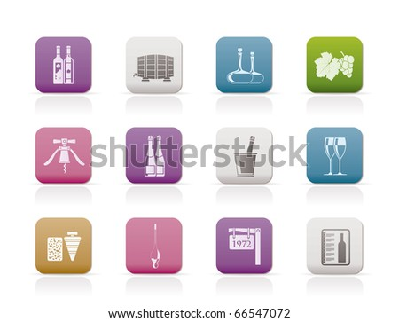 Wine and drink Icons - Vector Icon Set - stock vector